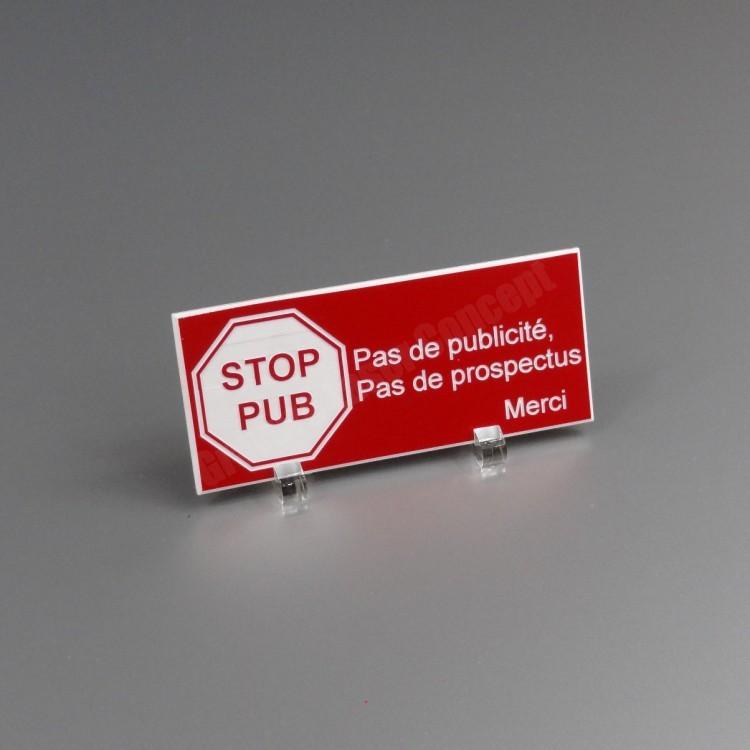 Plaque stop pub en acrylique r sistante aux uv et aux for Plaquette de parement autocollante